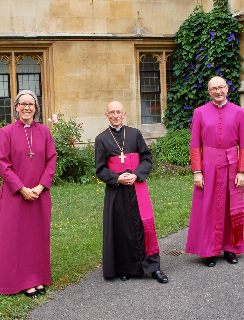 Bishop of Horsham, Ruth Bushyager and Bishop of Lewes, Will Hazlewood, pictured with the Bishop of Chichester, Dr Martin Warner (centre)